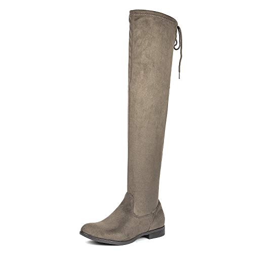 DREAM PAIRS Women's Overide Khaki Low Heel Thigh High Over The Knee Flat Boots Size 6.5 B(M) US