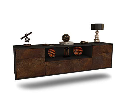 Dekati Lowboard Lubbock hängend (180x49x35cm) Korpus anthrazit matt   Front rostigen Industrie-Design   Push-to-Open