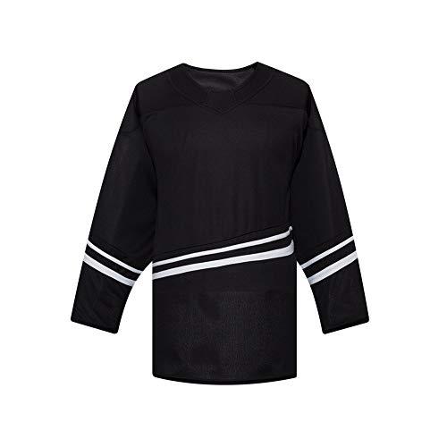 Ealer + Redwolf H500 Series Blanko-Eishockey-League-Trikot für Jungen, Kinder, Junior, Jugendliche, schwarz / schwarz, Youth G