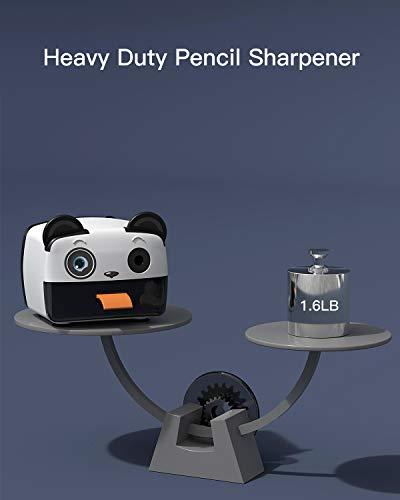 Electric Pencil Sharpener-Heavy Duty Helical Blade-Auto Stop Features For Kids, Students and Artists, Ideal for Home, School and Ofiice use, Cute, Yellow (Black&White) Photo #2
