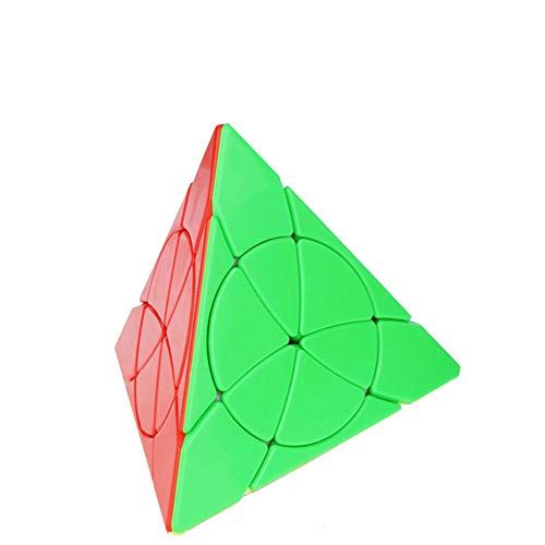 OJIN YongJun YJ Petal Pyraminx Cube Pyramid Triangle Four-axis Tetrahedron Speed Puzzle Cube Smooth Turning Cube Toy with One Cube Tripod (Stickerless)