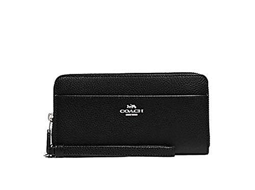 Coach Accordian Zip Phone Wallet Wristlet - #F76517 - Black/Silver, Medium