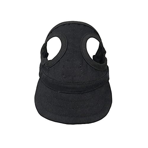 JYDQM Sombrero de Mascotas con Orejas para Perros Deporte de Perro Béisbol para protección Sol Pink Transpirable Paño Sombrilla de Sol Malla de Malla Sombrero de Lona (Color : Black, Size : Small)