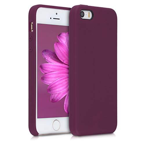 kwmobile Hülle kompatibel mit Apple iPhone SE (1.Gen 2016) / 5 / 5S - Handyhülle gummiert - Handy Case in Bordeaux Violett