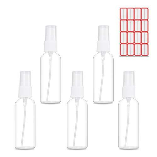 Veperain 50ml Transparente Botella de Spray Plástico, Botellas de Pulverización de Plástico con Atomizador para Maquillaje, Perfume, Prueba, de Viaje(Juego de 5)