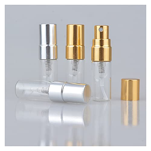 JSJJAWS Botella contenedor Botella de Perfume Recargable de Vidrio portátil de 50pcs / Lote 2ml con atomizador de Aluminio Caja de Parfum vacía para Viajero (Material : Black)