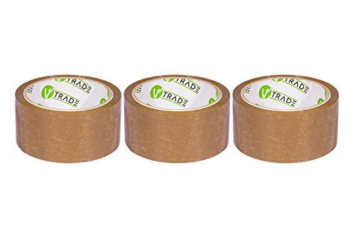 V1 Trade - Paketklebeband, Braun Klebeband Packband - SOLVENT Packtape - 48 mm x 66 m (48 mm x 66 m (3 Stück))