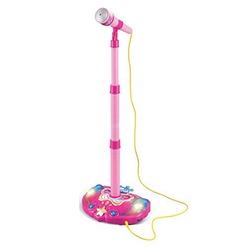 Koyae Mikrofon Kinder, 38-79cm Einstellbar Karaoke Mikrofon Kinder mit Ständer und Licht Mikrofon Spielzeug für Kinder Junge Mädchen ab 3-6 Jahre