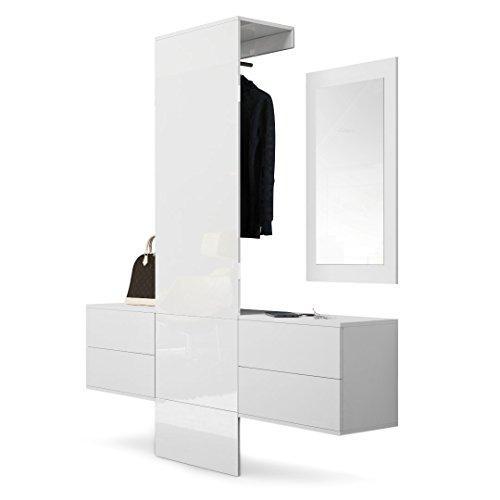 Vladon Garderobe Wandgarderobe Carlton Set 3, Korpus in Weiß matt/Paneel in Weiß Hochglanz