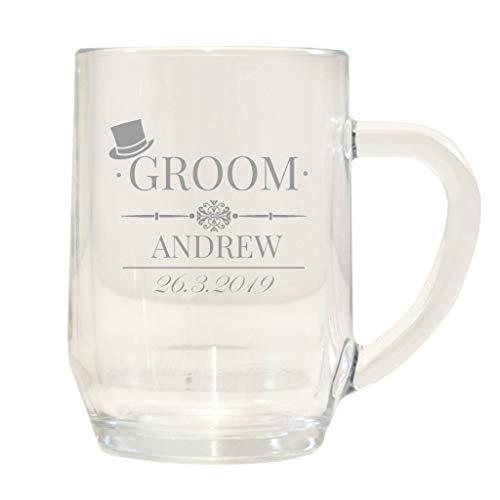 Personalised Groom Tankard Glass Wedding Engraved/Stein/1 Pint/Gift Box
