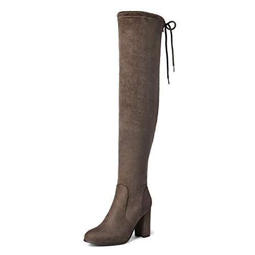 DREAM PAIRS Women's New Shoo Khaki Over The Knee High Heel Boots Size 6.5 B(M) US