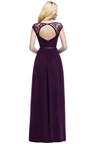 MisShow Damen Elegant V-Ausschnitt Ärmellos Abendkleid Lang Lila 38