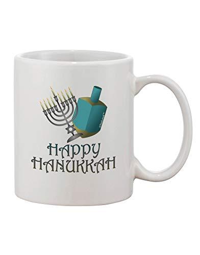 N\A Taza de café Estampada Happy Hanukkah Azul y Plateada
