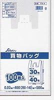 セイケツ FA-004 買物バッグ 東日本30号/西日本40号 白半透明 0.02×400(260+140)×500 HDPE 100枚×20冊 2000枚