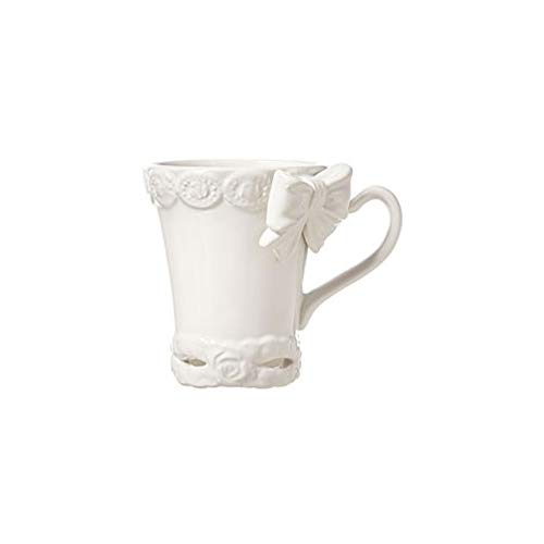 L'ARTE DI NACCHI Set 2 tazas de té con lazo cerámica blanca 350 ml KF-39