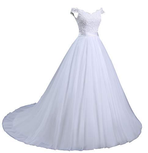 Romantic-Fashion Brautkleid Hochzeitskleid Weiß Modell W102 A-Linie Stickerei Träger Satin Organza DE Größe 46