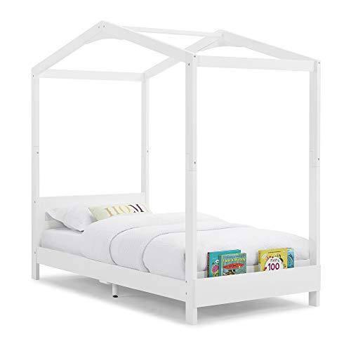 Delta Children Poppy House Wood Twin Bed, Platform Bed - No Box Spring Needed, Bianca White
