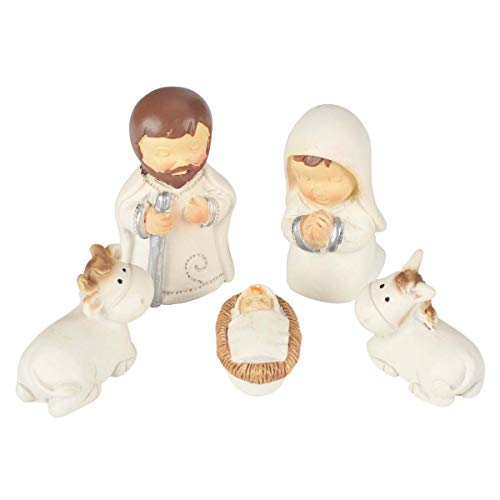 Christmas Mini Nativity Holy Family Figurine Baby Jesus in Manger Nativity Scene Statue Christmas Decoration Display These Decorative Figurines On Your Mantel, Window Sill or Under The Tree