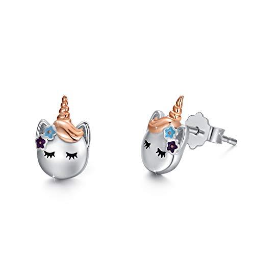 Einhorn Ohrringe Mädchen 925 Sterling Silber Einhorn Ohrstecker Süß Blume Einhorn Schmuck Geschenke für Kinder Tochter Frauen