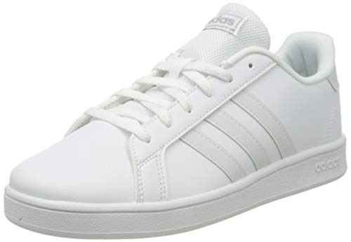 adidas Grand Court K, Scarpe da Tennis, Ftwr White/Ftwr White/Halo Silver, 38 2/3 EU