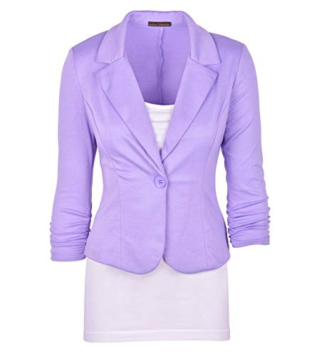 Auliné Collection Women's Casual Work Solid Color Knit Blazer Lavender 1X