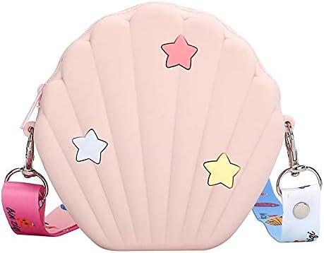 QZUnique Colorful Shell-shaped Shoulder Bag Five-pointed Star Pattern Hnadbag Cute Mini Purse