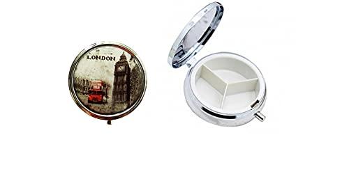 Portapillole Rotondo in Metallo Contenitore per Medicinali, Portapillole da Viaggio Portatile Tascabile, 3 Scomparti Grande (CITY)