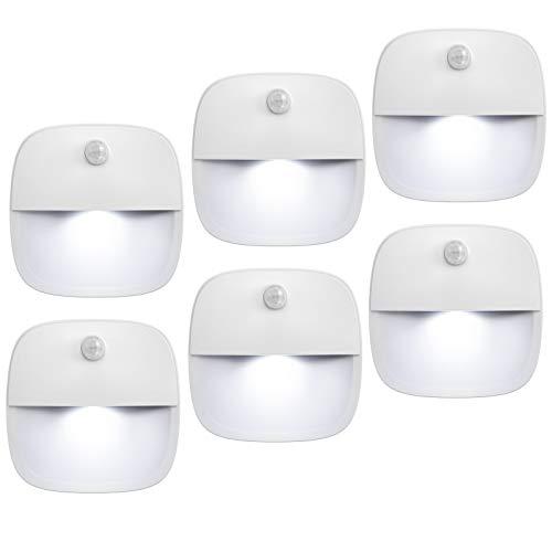 AMIR (Upgraded Version) Motion Sensor Light, Cordless Battery-Powered LED Night Light, Wall Light, Closet Lights, Safe Lights for Stairs, Hallway, Bathroom, Kitchen, Cabinet (White - Pack of 6)