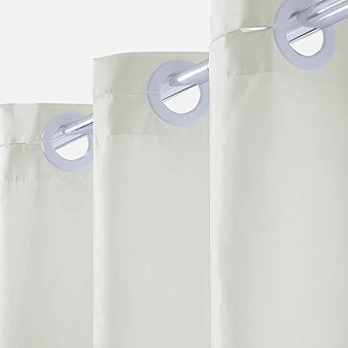Furlinic Duschvorhang 120 x 200 Beige, Schmale Textile Badvorhänge aus Stoff für Dusche und Badewanne, Wasserdicht Schimmelresistent und Waschbar, mit Groß Ösen.