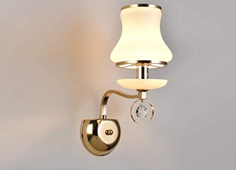 CCLAY Glas-Wandleuchte, Lampe Gold Einzelkopf Doppelkopf Wandlampe warmes Schlafzimmer Nachttischlampe Zimmer LED-Licht,606,5W