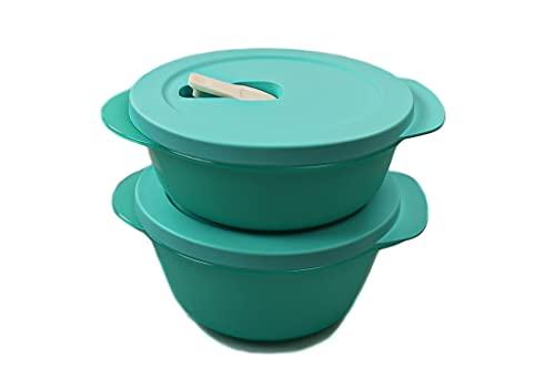 TUPPERWARE CrystalWave Rotondo bowl 800 ml + 600 ml turchese 38446