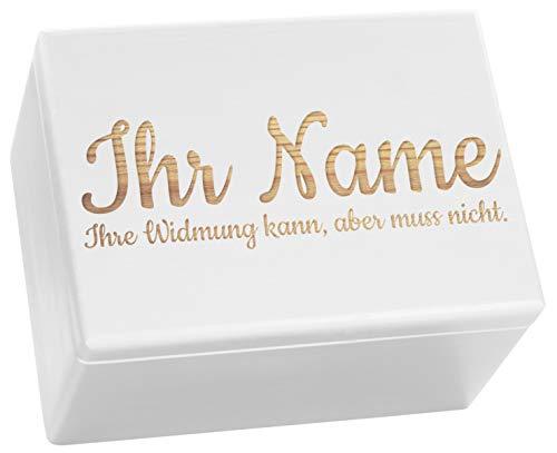 LAUBLUST Große Holzkiste - Personalisiert mit Individueller Wunsch-Gravur - 40x30x24cm, Weiß, FSC® - Geschenk-Kiste | Aufbewahrungskiste | Erinnerungs-Box