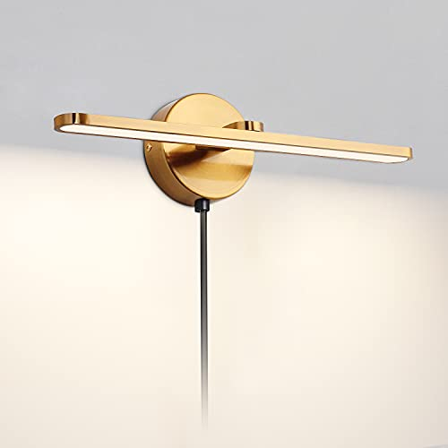 MantoLite Luz de cuadro, lámparas de espejo con enchufe para hotel, apliques de lámpara de pared LED con interruptor, accesorio de iluminación de arte de brazo recto (acabado de latón mate)