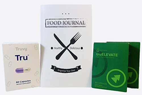 Truvision Health Weight Loss Tru (Trufix) (60 Pills) and TruElevate (60 Pills) 30 Day Supply (1 Month/120 Capsules) Includes Physical Food Journal Book by Jay Roberts Bundle