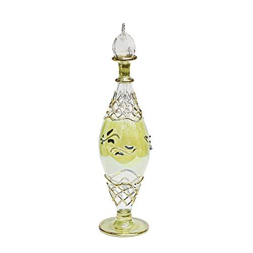 Perfumero Egipcio de Cristal soplado Hecho a Mano en Egipto Abombado Dorado y Verde 19 cm