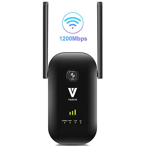 WiFi Range Extender -1200Mbps WiFi Repeater Wireless Signal Booster 2.4 & 5GHz Dual Band WiFi Extender with 2 Gigabit Ethernet Port, AP & Router Mode, 360°Full Coverage, Simple Setup