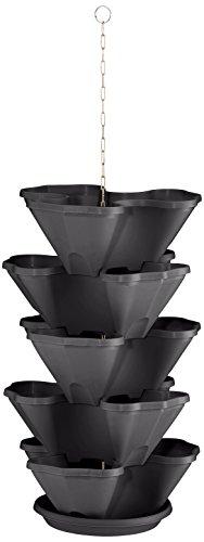 Plastkon étage Fleurs Support et étage Pots de Fleurs Suspendus trelista 5 Animaux, Anthracite/Gris
