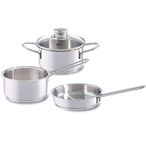 Fissler häppchen / Edelstahl-Topfset 3-teilig, Kochtopf mit Glasdeckel, Pfanne unbeschichtet, Stielkasserolle - Induktionsgeeignet