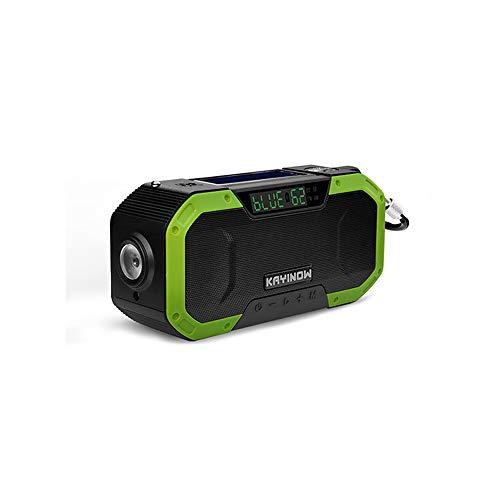 Guijiyi Solar Radio, AM FM Kurbelradio mit Bluetooth Lautsprecher, mit 5000mAh als Power Bank/Leselampe Alarm/SOS Signal, für Wandern, Camping, Ourdoor, Notfall (Grün)
