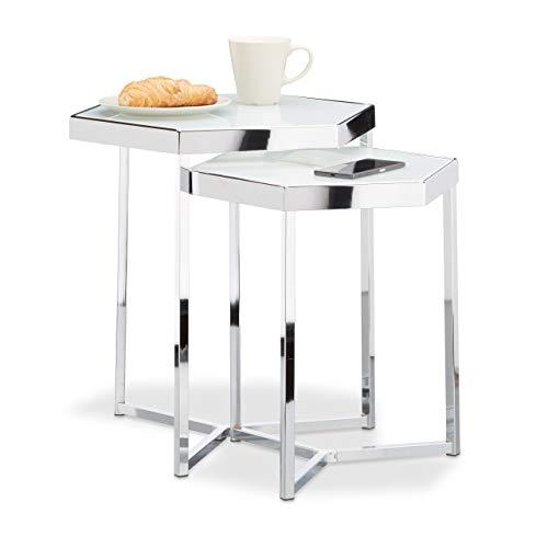 Relaxdays Bijzettafelset van 2 glas, metalen frame, zeshoekig, modern design (melkglas), salontafel metaal, zilver