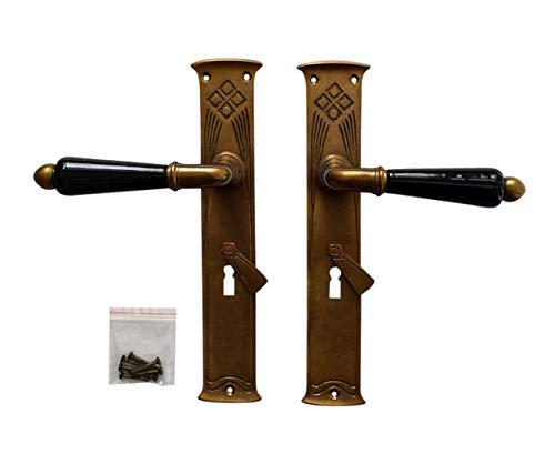 Graf von Gerlitzen Luxusgriffe Jugendstil Antik Messing Tür Griffe Türgriffe Langschild Türbeschlag Türdrücker BB S102-1A