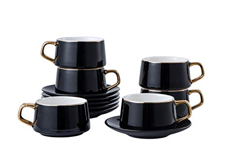 Juego de 6 tazas americanas grandes de 8 (OZ) con platillo de porcelana tazas de café/té, capuchino/latte/expreso/mocha, tazas y platillos con bordes y asas bañados en oro...