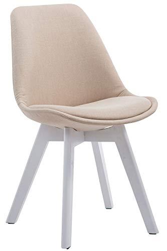 GXK Besucherstuhl Stoffbezug Retro Küchenstuhl Lehnstuhl Konferenzstuhl (Color : Creme, Size : Weiß (Eiche))