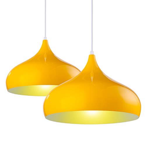 LSX Licht 2X Pendelleuchte Retro Vintage Hängeleuchte Hängelampe Metall Ø 30cm exkl. E27 max. 60W Leuchtmittel Gelb Glanz, Metallschirm Gelb/Weiß farbig [Energieklasse A++]