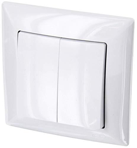 Interruptor de serie UP de 2 vías, todo en uno, marco + montaje empotrado + cubierta (Serie G1 de color blanco)
