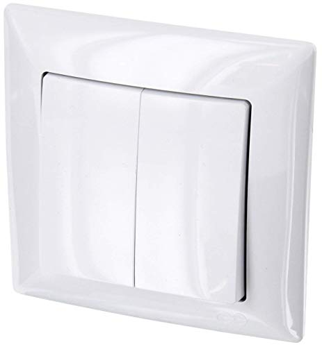 Up de 2enchufes Serie Interruptor–All-in-One–Marco + rasante de uso + Protectora (Serie G1Color Blanco)