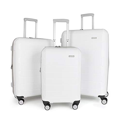 Amazon Brand - Eono Expandable Luggage Set of 3 Piece Polypropylene Hard Shell Anti-Scratch Suitcases with 4 Spinner Wheels and Built-in TSA Lock, 55 cm, 66 cm, 76 cm, White