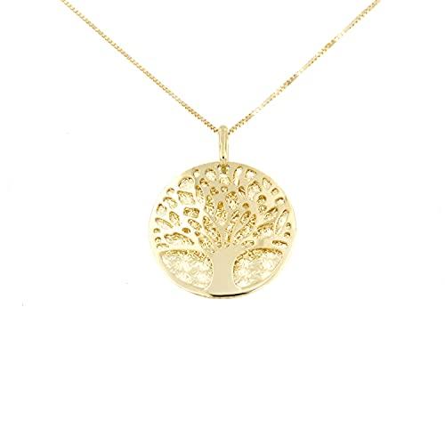 Lucchetta Goldkette 585 Damen, Baum des Lebens Anhänger Halskette 14 Karat GelbGold, Echtgold Schmuck, Kette 45cm einstellbar 42cm