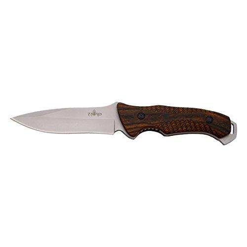 THIRD Cuchillo de Caza H0738RD, con Hoja de Acero de 12,5 cm Acabado Satinado, Mango de pakkawood. Incluye Funda de Piel.
