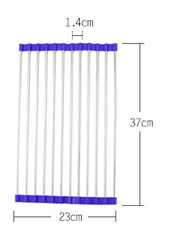 PlenTree FEIGO 1Pcs acero inoxidable estante del fregadero de cocina del estante plegable de múltiples funciones Drenaje escurridor plegables Coladores Coladores F729: F729 azul...
